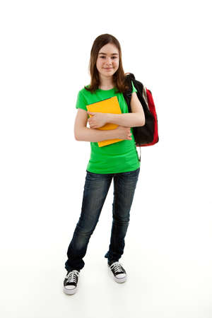 Student with backpack holding book on white background photo