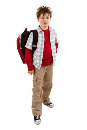 niño con mochila: Estudiantes con la mochila de pie sobre fondo blanco