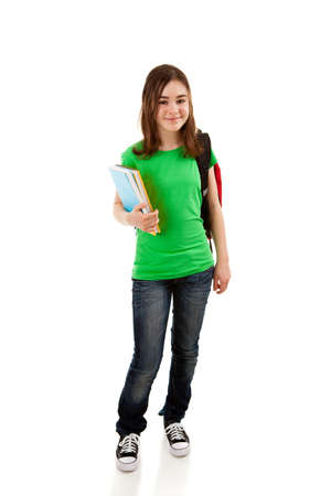 13 14 years: Girl holding books on white background