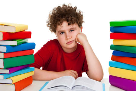 13 14 years: Boy learning on white background