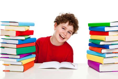 Boy learning isolated on white background photo