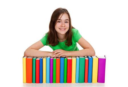 kids writing: Girl peeking behind pile of books on white background