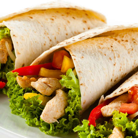 bbq chicken: Kebab - grilled meat and vegetables Stock Photo