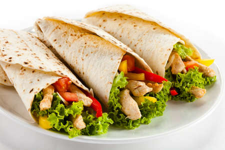 pita: Kebab - grilled meat and vegetables Stock Photo