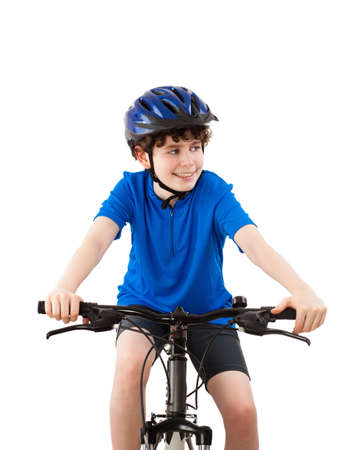 bicycle helmet: Cyclist isolated on white background Stock Photo