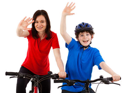 Cyclists isolated on white background photo