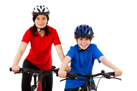 40 45: Cyclists isolated on white background Stock Photo