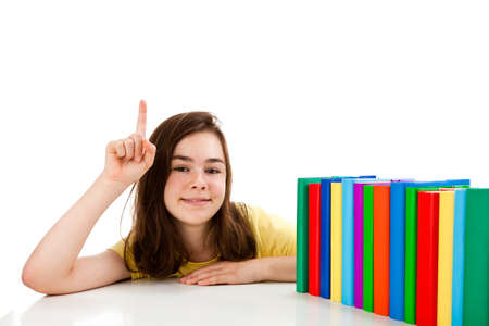 13 14 years: Girl learning isolated on white background Stock Photo