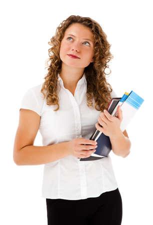 Woman holding bloc de notas aisladas sobre fondo blanco