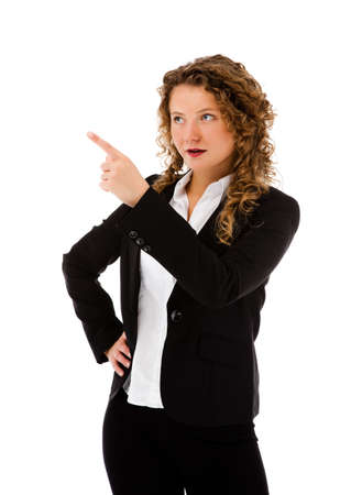 woman pointing up: Woman pointing isolated on white background