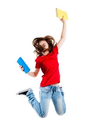 graduacion de ni�os: Chica saltar, correr aisladas sobre fondo blanco