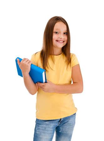 8 9 years: Girl holding books isolated on white background Stock Photo