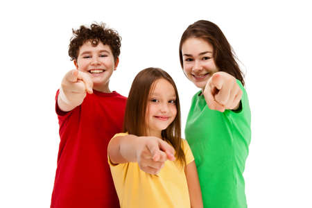 Kids pointing isolated on white background  photo
