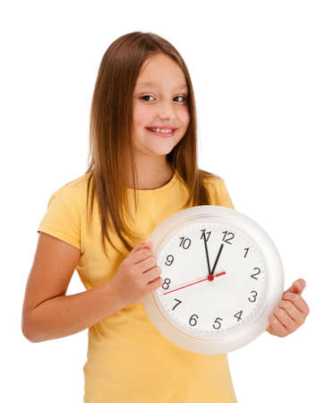 8 9: Girl holding wall-clock isolated on white background Stock Photo