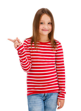 8 9 years: Girl pointing isolated on white background