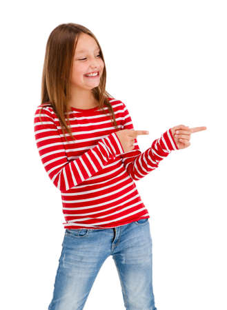 Girl pointing isolated on white background photo