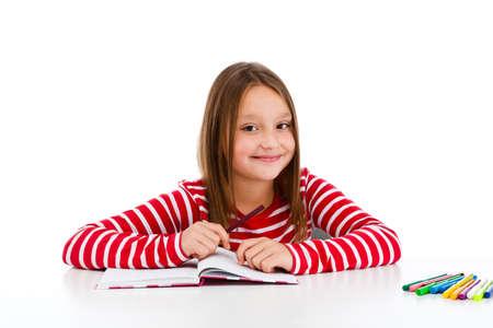 lectura y escritura: Aprendizaje Chica aisladas sobre fondo blanco