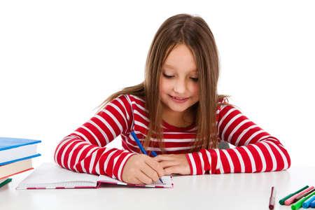 ni�os escribiendo: Aprendizaje Chica aisladas sobre fondo blanco