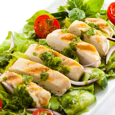 chicken breast: Vegetable salad with roasted chicken meat Stock Photo