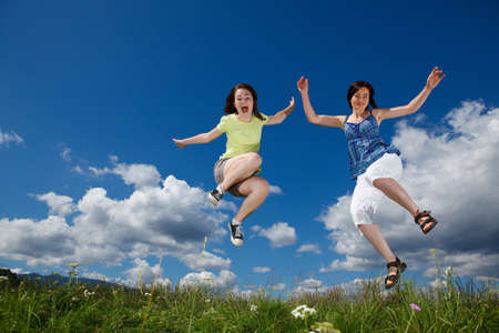 kids exercise: Active family - mother and kid jumping, running outdoor