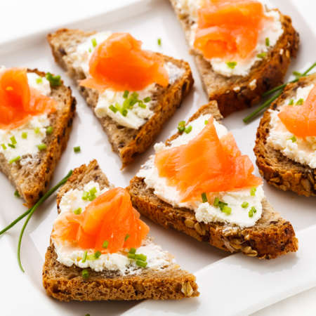 appetizers menu: Bread with smoked salmon and cream cheese