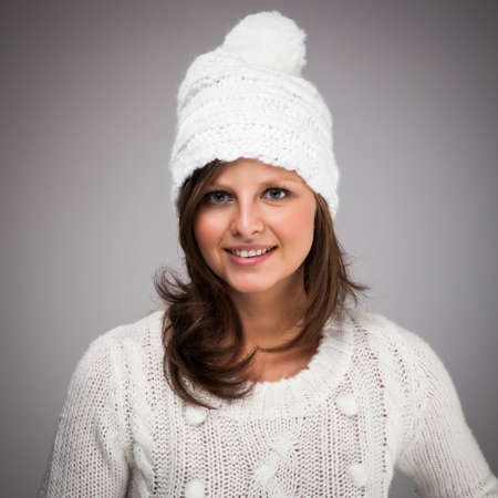sweater girl: Young attractive woman dressed in winter clothes