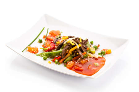 Roasted meat and vegetables  photo