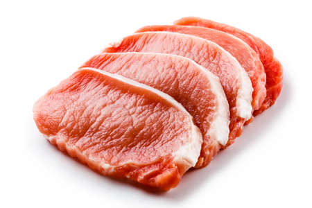 loin chops: Fresh raw pork on white background Stock Photo