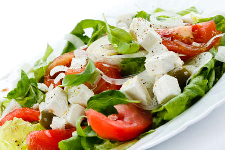 Vegetable salad with cheese photo