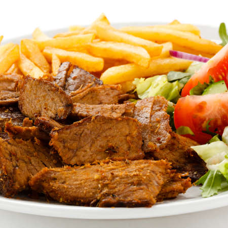 shish: Grilled meat with French fries and vegetables