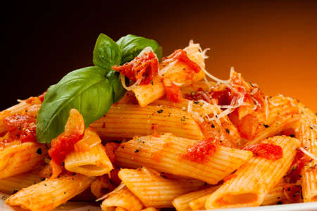 spaghetti sauce: Pasta with tomato sauce and parmesan Stock Photo
