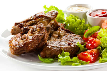 steak plate: Grilled steaks and vegetables