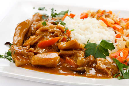 Goulash with white rice photo