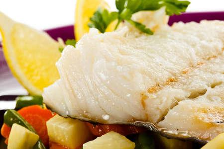 Fish dish - fish fillet and vegetables Banco de Imagens