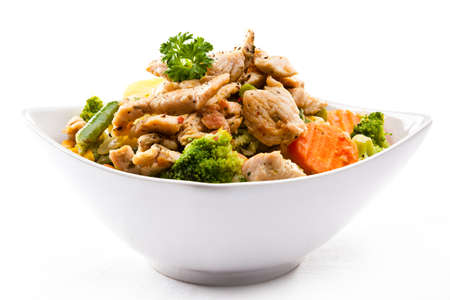 broccoli salad: Roasted meat and vegetables Stock Photo