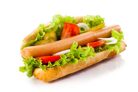 hotdog: Hot dog isolated on white background