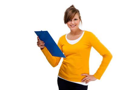 studio shots: Woman holding notepad isolated on white background