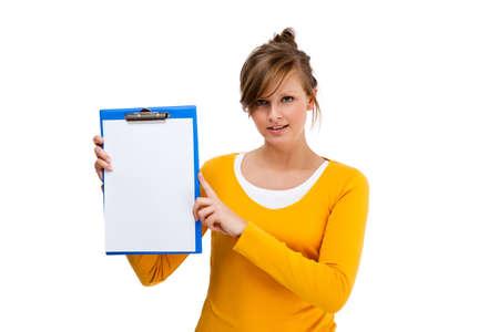 Woman holding notepad isolated on white background Stock Photo - 16883139