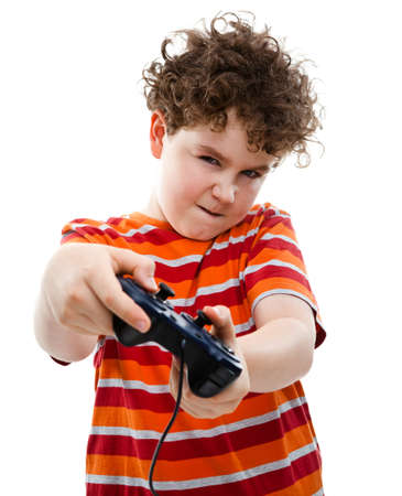 Boy using video game controller photo