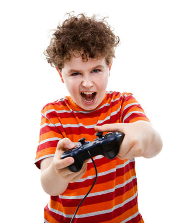kids playing video games: Boy using video game controller