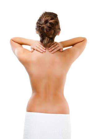 Woman massaging pain back isolated on white background Stock Photo - 17081616