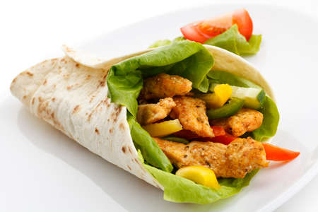 tortilla: Kebab - grilled meat and vegetables Stock Photo