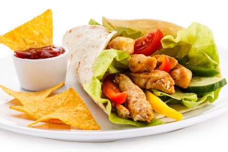 portions: Kebab - grilled meat and vegetables Stock Photo