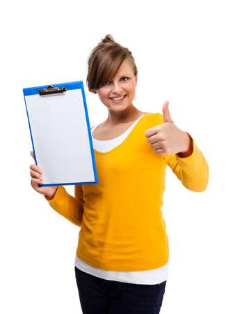 sign university: Woman holding notepad isolated on white background