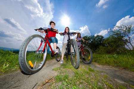 Active family biking Stock Photo - 17165892