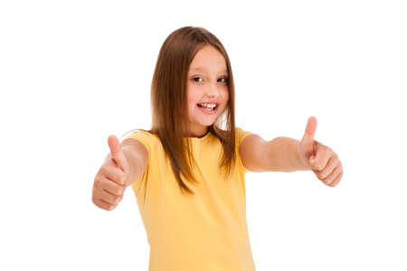 arm up: Girl showing OK sign isolated on white background