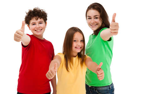 arms up: Kids showing OK sign isolated on white background Stock Photo