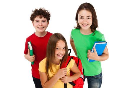 Kids holding books isolated on white background photo