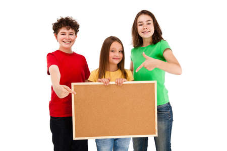 Kids holding noticeboard isolated on white background photo