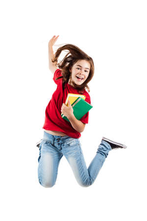 Girl jumping, running isolated on white background photo